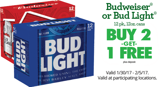 Budweiser Or Bud Light 12 Pack, 12 Oz Cans. Buy 2 Get 1 Free