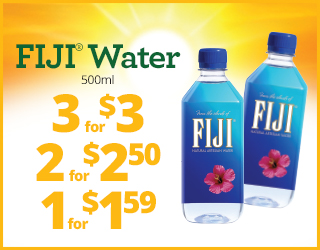 FIJI Water 500ml 3 for $3, 2 for $2.50, 1 for $1.59