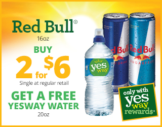 Red Bull 16oz Buy 2 for $6 (single at regular retail) Get a Free Yesway Water (20oz)