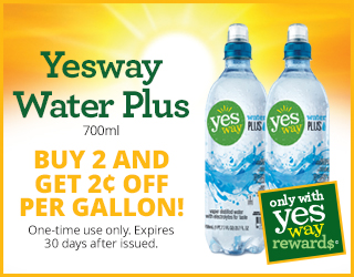 Yesway Water Plus 700ml Buy 2 and get $0.02 Off per gallon! (One-time use only. Expires 30 days after issued.)