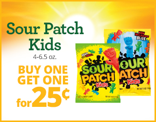 Sour Patch Kids 4-6.5oz Buy one get one for $0.25