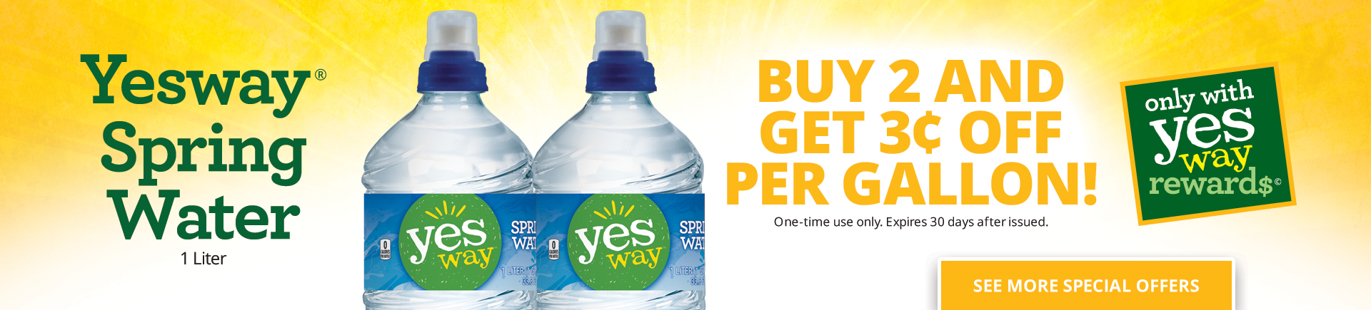 Yesway Spring Water 1 liter - Buy 2 and get $0.03 OFF per gallon