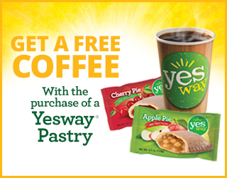 Get a Free Cofffee with a purchase of a Yesway Pastry