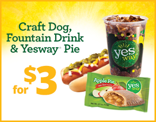 Fountain Drink, Craft Dog and Yesway Pie