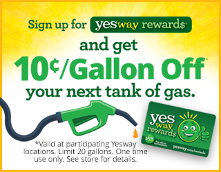 Sign up for Yesway Rewards and get $0.10/Gallon off your next tank of gas