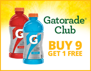 Gatorade Club Buy 9 Get 1 FREE