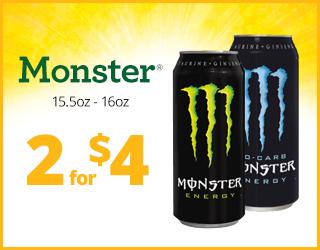 Monster Drink 2 for $4