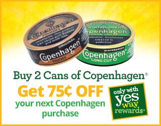 Buy 2 Cans of Copenhagen - Get $0.75 OFF your next Copenhagen purchase
