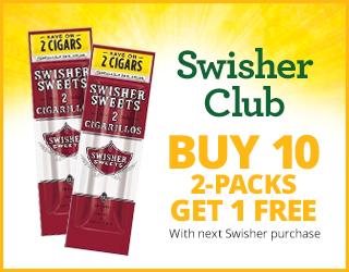 Swisher Club Buy 10 2-Packs get 1 FREE with next Swisher purchase