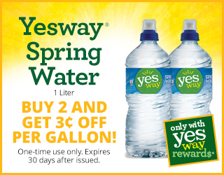 Yesway Spring Water - Buy 2 and Get $0.03 OFF per Gallon