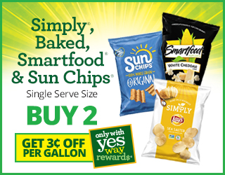 Simply, Baked, Smartfood & Sun Chips Single Serve Size Buy 2 and Get $0.03 OFF per Gallon