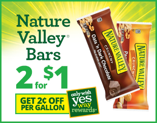 Nature Valley Bars Two for One Dollar and Get $0.02 off per Gallon