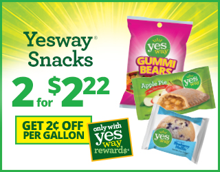Yesway Snacks 2 for $2.22 and Get $0.02 off per gallon