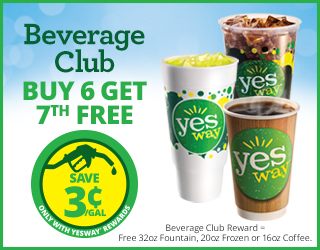 Beverage Club - Buy 6 Get 7th FREE - Save $0.03/Gallon with Yesway Rewards