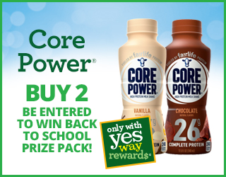 Core Power - Buy 2 - Be entered to win back to school prize pack!