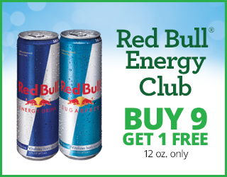 Red Bull Energy Club - Buy 9 Get 1 FREE - 12 oz only