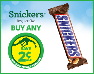 Snickers - Regular Size - Buy Any - Save $0.02/Gallon with Yesway Rewards