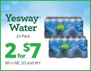 Yesway Water 24-Pack 2 for $7 $8 in NE, SD and WY