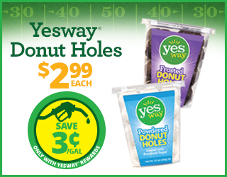 Yesway Donut Holes - $2.99 each - Save $0.03/gallon