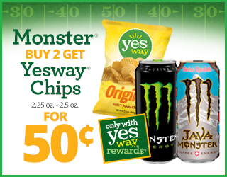 Monster Buy 2 Get Yesway Chips (2.25 oz - 2.5 oz) for $0.50