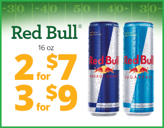 Red Bull 16oz - 2 for $7 - 3 for $9
