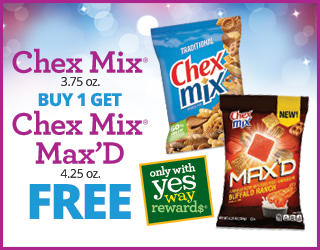 Chex Mix (3.75oz) Buy 1 Get Chex Mix Max'd (4.25oz) FREE