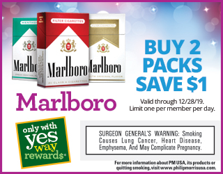 Marlboro - Buy 2 Packs Save $1 (Valid through 12/28/19 - Limit one per member per day