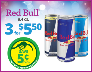 Red Bull 8.4oz - 3 for $5.50 - Save $0.05/Gallon