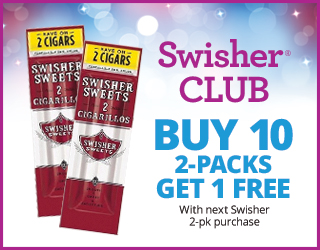 Swisher CLUB - Buy 10 2-Packs Get 1 Free with next Swisher 2-pk purchase