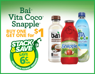 Bai Vita Coco Snapple - Buy One Get One for $1 - Stack & Save $0.06/gallon