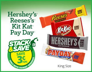 Hershey's, Reeses's, Kit Kat or Pay Day - Stack & Save $0.03/gallon