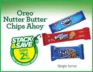 Oreo, Nutter Butter or Chips Ahoy - Stack & Save $0.02/gallon