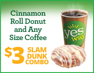 Cinnamon Roll Donut and Any Size Coffee - $3 Slam Dunk Combo