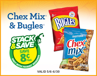 Chex Mix & Bugles - Save $0.08/gallon - Valid 5/6 - 6/30