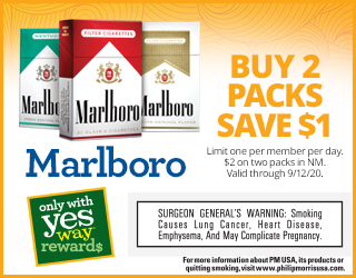 Marlboro - Buy 2 Packs Save $1 - Limit one per member per day. $2 on two packs in NM. Valid through 9/12/20