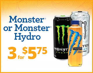 Monster or Monster Hydro - 3 for $5.75