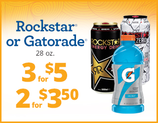 Rockstar or Gatorade (28oz) - 3 for $5 - 2 for $3.50