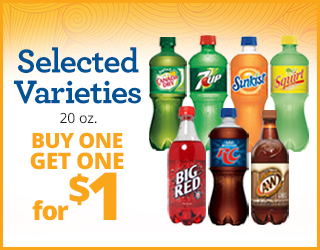 Selected Varieties Soda (20oz) - Buy One Get One for $1