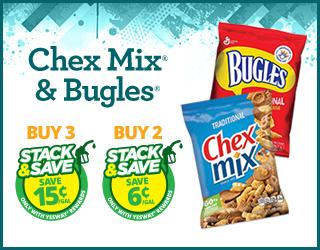 Chex Mix & Bugles Buy 3 Save 15¢, Buy 2 Save 6¢