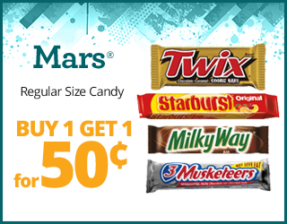 Mars Candy Bars - Buy 1, get 1 for 50¢