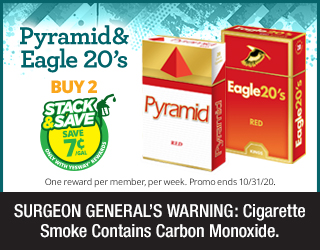 Pyramid & Eagle 20's Buy 2 Save 7¢