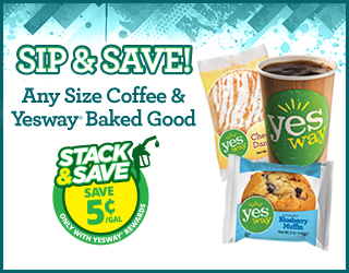 SIP & SAVE Any Size Coffee & Yesway Baked Good - Save 5¢