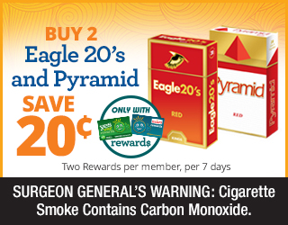 Buy 2 Eagle 20s and Pyramid Save 20¢