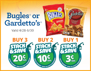 Bugles or Gardetto's Buy 3 Save 20¢, Buy 2 Save 10¢, Buy 1 Save 3¢