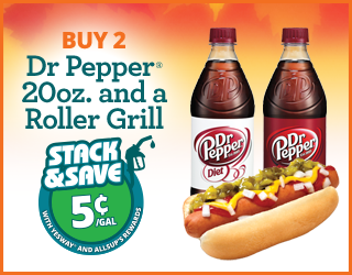 Dr. Pepper 20oz and Roller Grill - Buy 2, Save 5¢